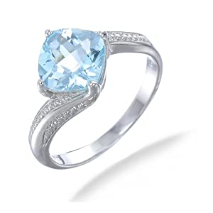 10MM Cushion Cut Natural Blue Topaz Ring In Sterling Silver 2.50 CT (Available In Sizes 5 - 9) from FineDiamonds9