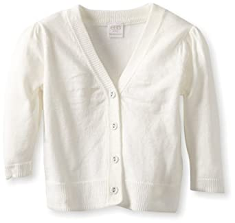 egg by susan lazar Baby-Girls Infant Puff Sleeve Cardigan, Ivory, 6-12 Months