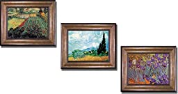 Field with Poppies, Wheatfield and Cypress & Iris Garden by Van Gogh 3-pc Premium Bronze-Gold Framed Canvas Gift Collection (Ready-to-Hang)