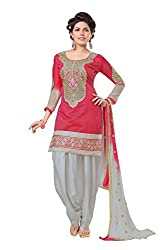SAILAXMI FASHION Women's Red Patiala Suit (SLF_PAT02_Free_Size)