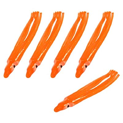Como 5 Pcs 28 Soft Plastic Fishing Bait Octopus Squid Skirt Lure Orange from Como