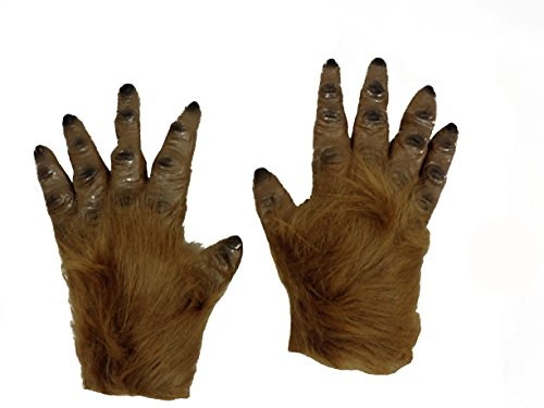 Adult Latex Furry Brown Werewolf Monster Hairy Costume Gloves