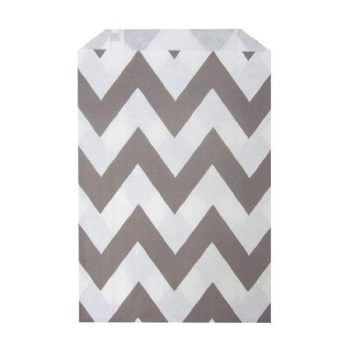 Chevron Stripe Gray/Grey Food Treat & Favor Paper Bags 24 Pk 5X7 - Twilight Parties