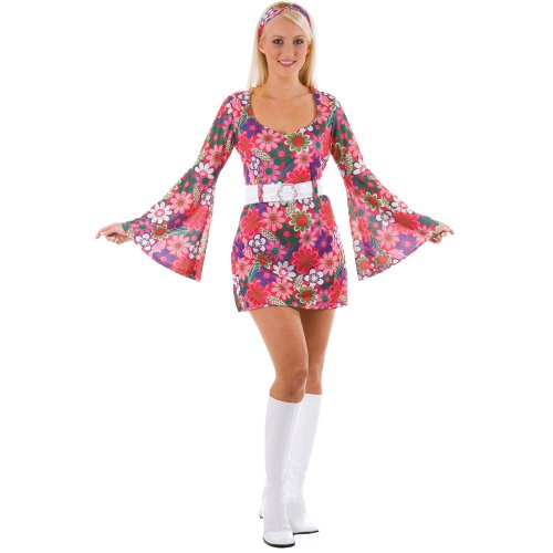 XL 1960s Style Floral Flower Pattern Hippy Dress