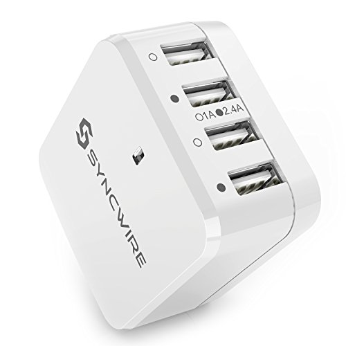 USB Charger Plug Syncwire 4-Port USB Wall Charger with US UK EU International Travel Adapter Series- 6.8A/34W for Apple iPhone iPad Samsung Smartphone Tablet - White [UL Certified] (Samsung Galaxy 24 Mini Case compare prices)
