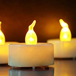 Topstone 18 Pcs Battery Operated Flameless Yellow Flickering Flame Tealight Candles with 6 Hours on and 18 Hours Off Timer (Batteries Included)