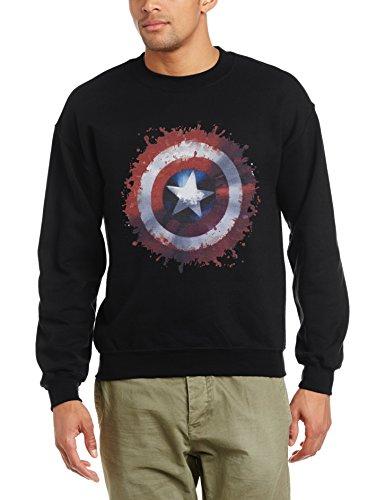 Marvel - Avengers Assemble Captain America Art Shield, Felpa da uomo,  manica corta, nero(schwarz - schwarz), XL