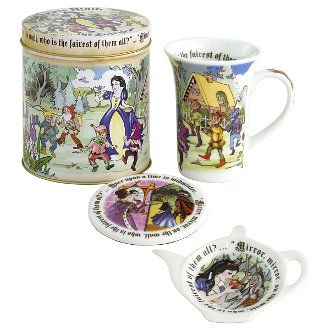 Cardew Snow White 14-Ounce Mug, Coaster, Tea Bag Rest And Tin Set
