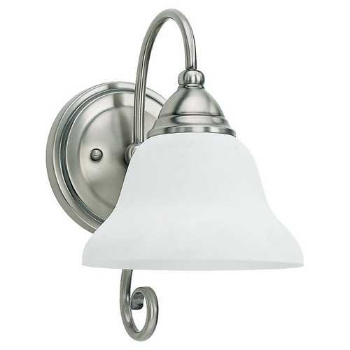 Sea Gull Lighting 41105BLE-965 Single-Light Fluorescent Wall Sconce, Antique Brushed Nickel Finish with Etched White Alabaster Glass Shade