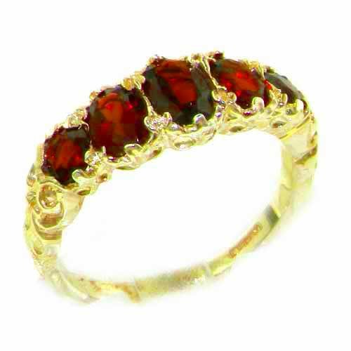 High Quality Solid 14K Yellow Gold Natural Garnet English Victorian Ring - Size 9.25 - Finger Sizes 5 to 12 Available - Perfect Gift for Birthday, Christmas, Valentines Day, Mothers Day, Mom, Mother, Grandmother, Daughter, Graduation, Bridesmaid.