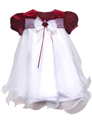 Rare Editions Baby Baby-Girls Infant Puff Sleeve Wire Hem W Velvet Bodice, Red/White, 12 Months
