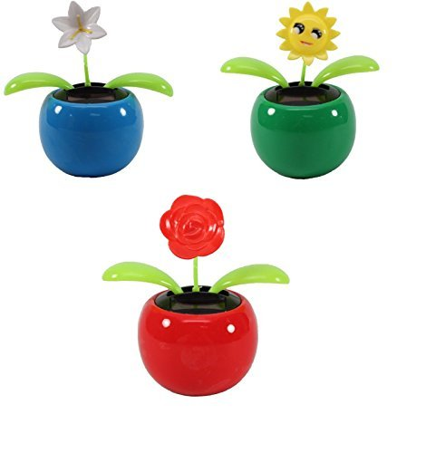 Set of 3 Dancing Flowers ~ 1 Lily+1 Smiley Sunflower+ 1 Rose in Assorted Colorful Pots Solar Toy Holiday Birthday Gift Home Decor US Seller - 1