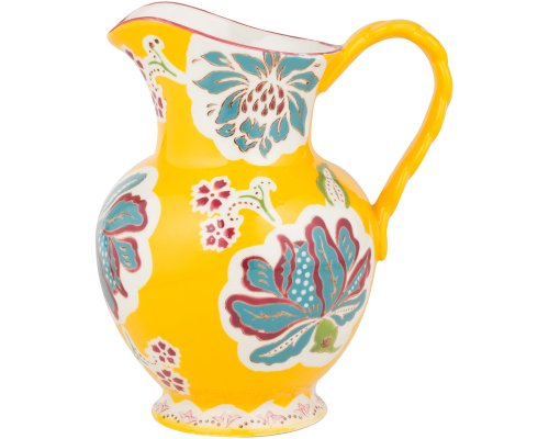 Gracie China Dutch Wax Hand Paint Ceramic 9-3/4-Inch Pitcher 80-Ounce Floral Golden Teal