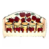 5PC SPICE RACK W/WOOD RACK COUNTRY APPLE DECOR