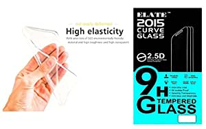 Elate TEMPERED Glass And Transparent Tpu Soft Back Cover For Motorola Moto G2