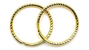 Arranview Jewellery Child's 9ct Gold 12mm Diamond Cut Sleeper Hoops (1 Pair)