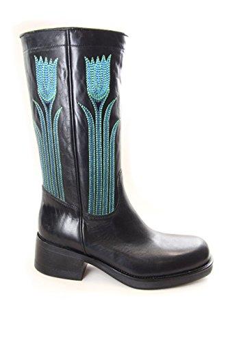 Fornarina stivali vintage in pelle con ricamo a filo mod. PIFZA2227WH Black EU39