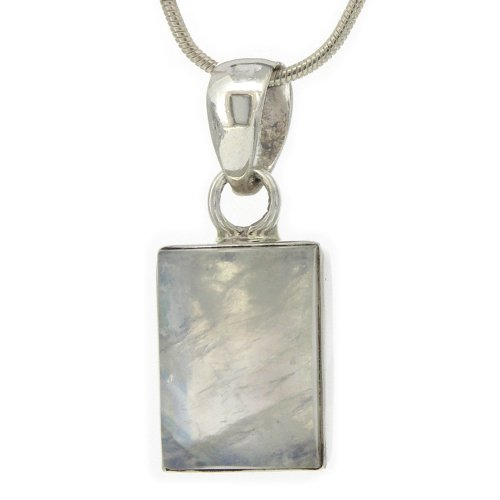 Nova Silver Bemine Small Rectangle Moonstone Pendant with 46cm Silver Snake Chain