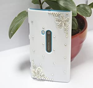 Bingsale Coque de protection incrustée de pierres strass et de fleurs pour Nokia Lumia 920 Blanc