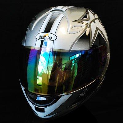 Motorcycle Street Bike Silver Star Full Face Adult Helmet