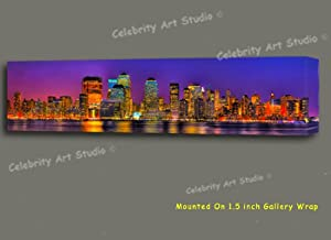 NEW YORK MAHATTAN SKYLINE PANORAMA MIXED MEDIA PAINTING W GALLERY WRAP FRAMING 40X10X1.5""