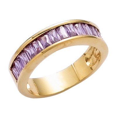 18K Gold Plated Violet Cubic Zirconia Half Eternity Wedding Band Ring - Size 10