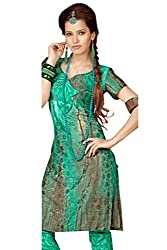 Variation Women's Green Jacquard Unstiched Dress Material (VD11966)