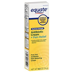 Equate - Antibiotic Cream + Pain Relief, Maximum Strength, 0.5 oz (Compare to Neosporin)