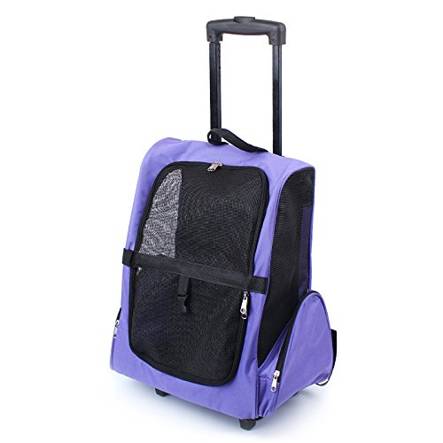 JANMO Pet Carrier Backpack Airline Approved for Medium Big and Large Dog with Wheels And Soft Mat (Purple)