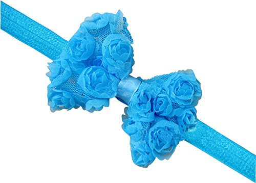 PinkXenia Light Blue Elastic Rose Flower Newborn Babygirl Soft Headband