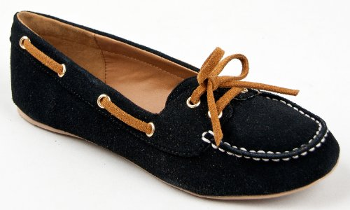 Qupid SERINA-720 Basic Classic Slip On Moccasin Flat Boat Shoe