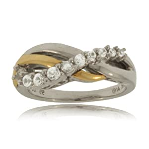 White Sapphire Ring Sterling Silver 2-Tone X-Band