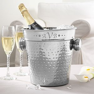 Personalized Stainless Steel Ice Bucket With Engraved Monogram front-1021437