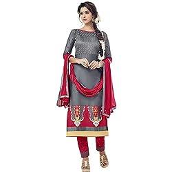 pakiza deisgn new gorgeous grey cotton party wear semi-stitched salwar suit dress material