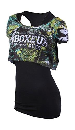 Boxeur Des Rues Fight Activewear Canotta e T-shirt Stampata, Nero, XS
