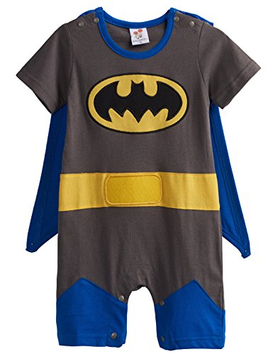 [A&J Design Baby Boys' Batman Short Sleeve Romper Costume (3-6 Months)] (Batman Outfit Baby)
