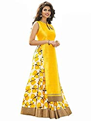 RADIATO ES New Fancy HIGH Quality Fabric YELLOW And White Flower Print Indo Western Lehenga