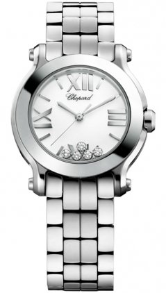 Chopard Women's 278509-3002 Happy Sport Mini Diamond White Dial Watch