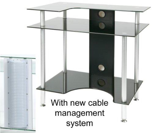 PC002 SRB - Small Rectangular Black Glass Computer Desk