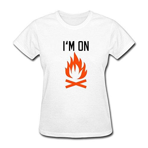 Pnhk Women'S Fire Love Bbq T Shirt Large White
