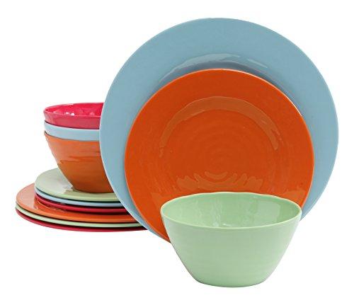 Gibson Home 12 Piece Brist Melamine Dinnerware (Set of 4), Assorted Dinnerware