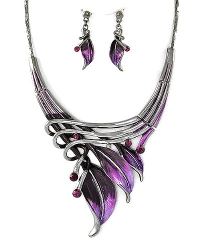 Silvertone Purple Leaf Statement Necklace and