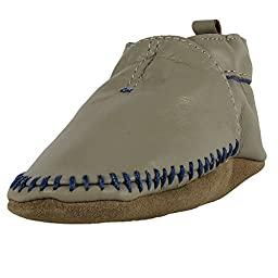Robeez Baby-Boys Premium Leather Classic Moccasin Grey, 6-12 Months (Infant Crib Shoes / Pre-Walkers)