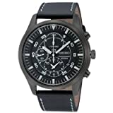 CITIZEN Watch:Seiko Men's Chronograph Black Military Style Watch, Leather Strap, Stainless Steel Case SNDA21