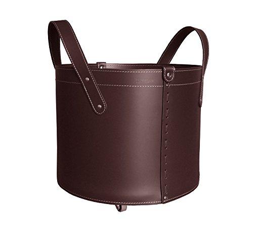 TONDA: borsa in cuoio portalegna e/o pellet, in cuoio rigenerato colore Testa di Moro, con ruote gommate.