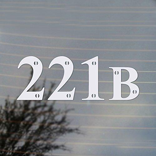 221B Sherlock Holmes Vinyl Decal (White) (Sherlock Holmes Fan compare prices)