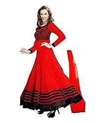 Prachi Silk Mills Women`s Georgette Embroidered Semi-stitched Salwar Suit Dupatta Material(Red Evlyn)