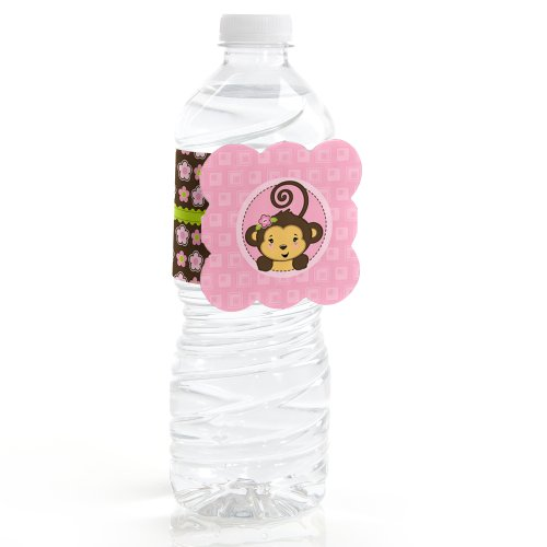 Monkey Girl - Water Bottle Labels (Set Of 12)