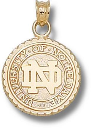 Notre Dame Fighting Irish Seal Pendant - 14KT Gold Jewelry by Logo Art