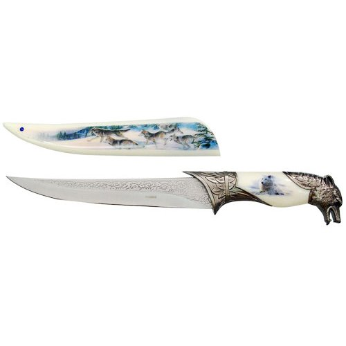 """13.5"""" Collector's Hunting Knife with Wolf Scabbard and Handle"""